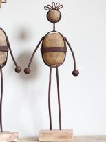Wooden and rusted metal figure Noedo, factory style, Chehoma