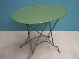 Green metal folding table, country decor, Chehoma