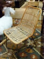 Natural rattan chair Twist wih green metal legs Chehoma