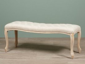 Padded bench natural linen Beaumont Chehoma, antique decor