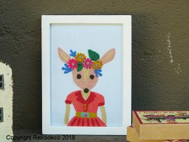 Picture embroidered fabric baby deer, vintage style, Chehoma