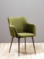 Green velvet chair Britt, vintage decor, Chehoma