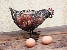Iron wire basket for eggs Chicken, country decor