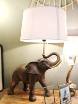 Large resin elephant light Hati with lampshade Chehoma