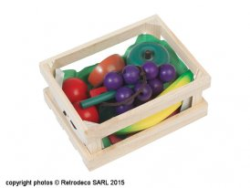 Jeu de marchande, cagette de fruits en bois, Rex International