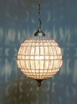 Glass faceted and glass beads pendant light, antique style