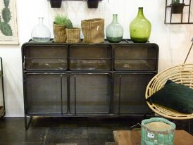 Antique black metal chest Perf 3 drawers 3 doors Hanjel