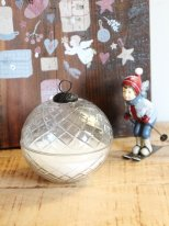 Engraved glass Christmas ball candle, christmas decor, Chehoma