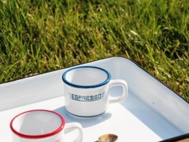 Ceramic cup Expresso Café white and blue, bistro style