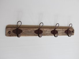 Wooden coat rack 4 metal hooks, country decor, Chehoma