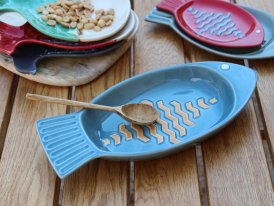 Ceramic fish tray blue, seaside style, Chehoma