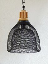 Hanging lamp with double black wire mesh, factory style
