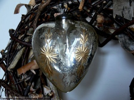 Boule de Noël forme coeur et fleur or   Déco noël   Chehoma [8590