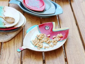 Ceramic round plate Comic red, seaside decor, Chehoma