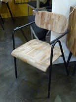 Natural teak armchair Prague, factory style
