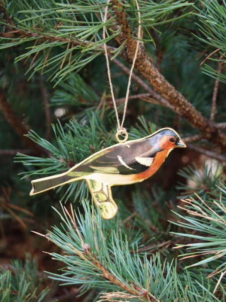 Metal bird Rouge-gorge to be suspended, retro christmas style