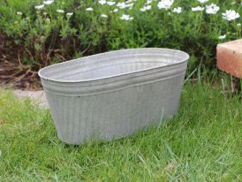 Large zinc oval pot Para, country decor, Krentz