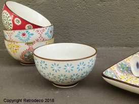 Small ceramic bowl Bohemian blue flowers Chehoma