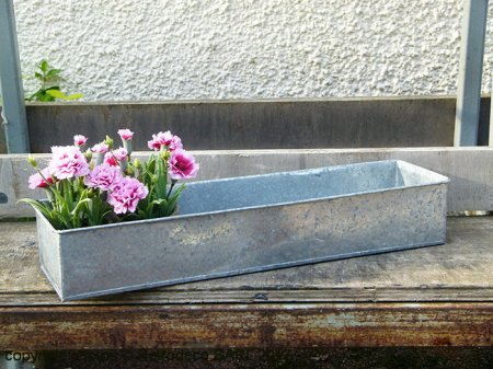 Long antique zinc trough, countryside style, Tobs