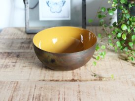 Brass and enamelled cup Colors mustard Athezza