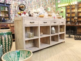 Pine retail counter Manufacture 2 drawers recto verso Chehoma