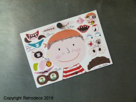 Carte postale Stickers Pirate Visage, Isabelle Chauvet
