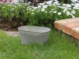 Small zinc oval pot Para, country decor, Krentz