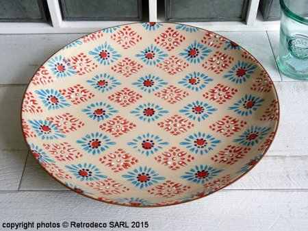 Plate Bohemian pattern blue and red flowers, Chehoma