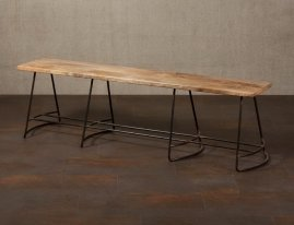Mango and black metal bench, country style, Chehoma