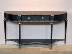Black metal console Edouard with 2 levels, antique style