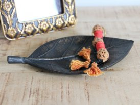 Resin antique copper tray Leaf, antique deco, Chehoma