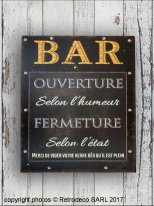 Metal sign Bar ouverture, bistro style, Antic Line