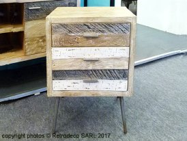 Wooden nightstand La Baule, seaside style, Hanjel