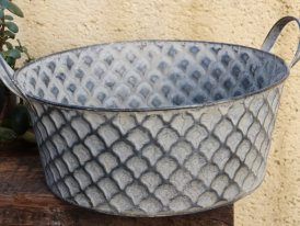 Large zinc basin Cheshire with handle, countryside decor