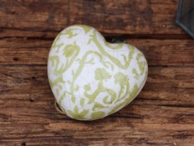 Ceramic paperweight green heart