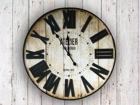 Black metal and wooden clock Atelier, factory style, Antic Line