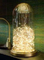Glass dome with led string gold base Chehoma