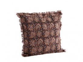 Ruby wine cotton cushion cover with fringes Madam Stoltz