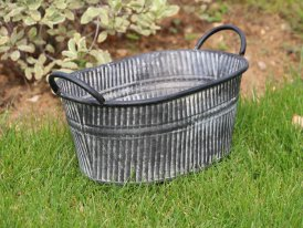 Small zinc oval pot with handles, country decor