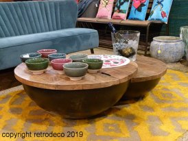 Wooden and metal low table round with storage Chehoma