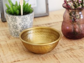 Bowl w/hammered pattern antique brass finish