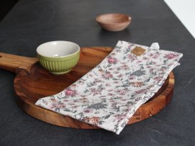 Tea towel faded rose and grey flower pattern Ib Laursen