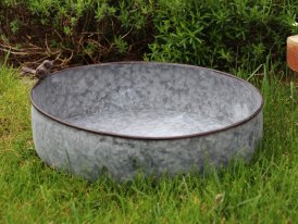 Large zinc basin Cobblestone Bird, countryside decor, Krentz