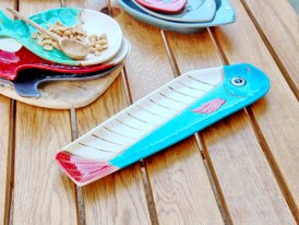 Ceramic long plate Comic blue seaside decor, Chehoma
