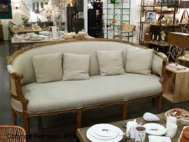Linen and jute sofa Valbelle, cosy style, Chehoma