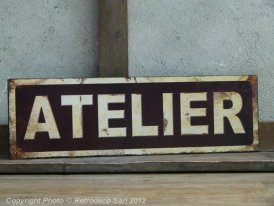 Tin metal plate Atelier, factory style, Antic Line