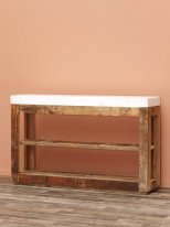 Wooden and marble console Greta, country decor, Chehoma