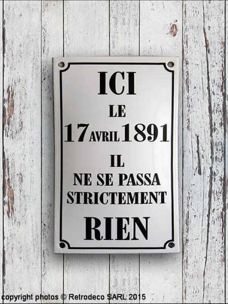 Enamelled Sign Ici le 17 avril, retro deco, Email Replica