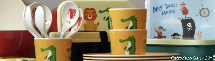Melamine Children Dishes Retrodeco