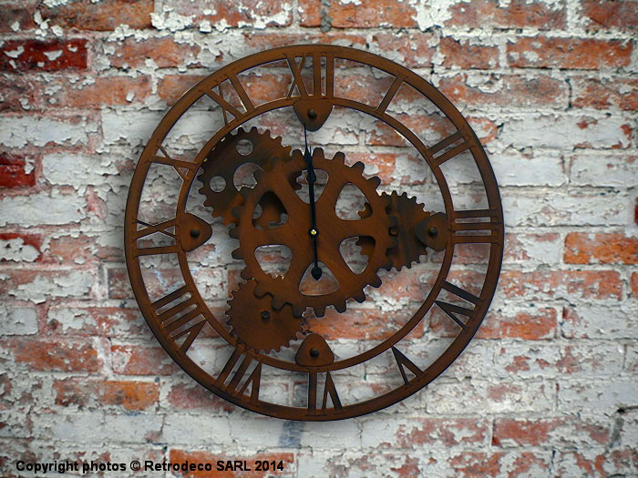 Horloge engrenages d co industrielle antic line seb12437 for Horloge murale style industriel